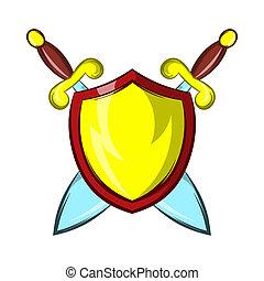 bouclier, or, chevalier, épées, deux, traversé, icône