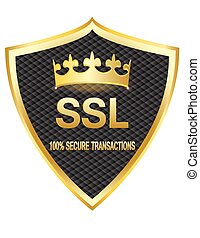 bouclier, or, ssl, protection, v, assurer