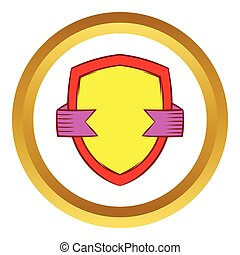 bouclier, or, vecteur, ruban violet, icône