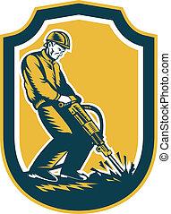 bouclier, ouvrier, construction, retro, foret, marteau-piqueur