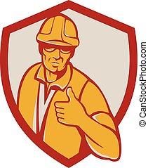 bouclier, ouvrier, haut, construction, retro, pouces