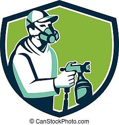 bouclier, peinture, fusil, pulvérisation, pulvérisation, ...