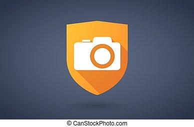 bouclier, photo, long, appareil photo, ombre, icône