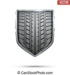 bouclier, pneu, intérieur., clair, vector., courses