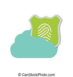 bouclier, protection, caractères doigt, technologie, nuage