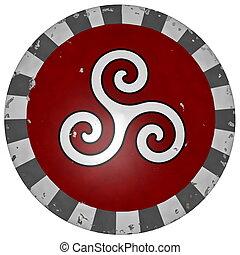 bouclier, render, symbole, -, grec, triskell, 3d