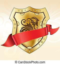 bouclier, ruban or, rouges