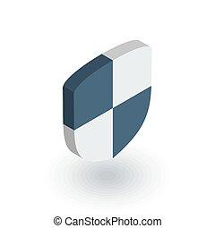 bouclier, sécurité, et, protection, isométrique, plat, icon., 3d, vecteur