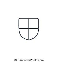 bouclier, sécurité, et, protection, ligne mince, icon., linéaire, vecteur, symbole