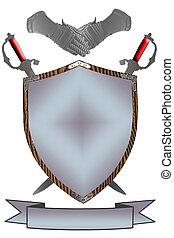 bouclier, siècle, épées, isolé, guerre, gants, 16ème, 3d