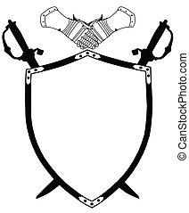 bouclier, siècle, épées, isolé, guerre, traversé, gants, 16ème