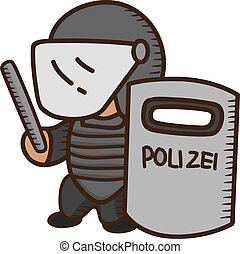 bouclier, tenue, policier