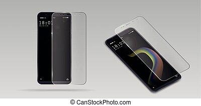 bouclier, verre, mobile, écran, illustration, tempéré, téléphone, vecteur, verre., protecteur, transparent