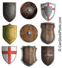 boucliers, chevalier, ensemble, moyen-âge, isolé