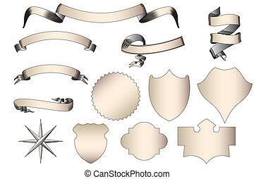 boucliers, vendange, blanc, isolé, bannières