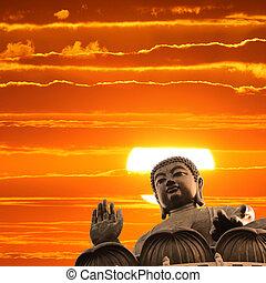 bouddha, à, coucher soleil