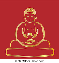 bouddha, arrière-plan rouge