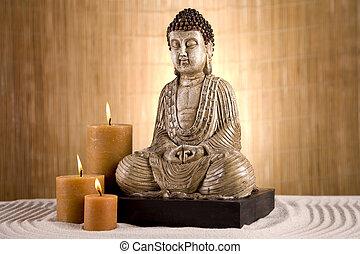 bouddha, concept, religieux, closeup