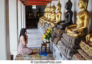 bouddha, femme, prier, méditation, asiatique