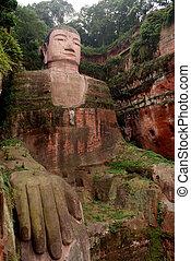 bouddha, géant, leshan, porcelaine