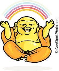 bouddha, heureux, arc-en-ciel