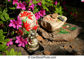 bouddha, image, séance, sur, peint, rochers