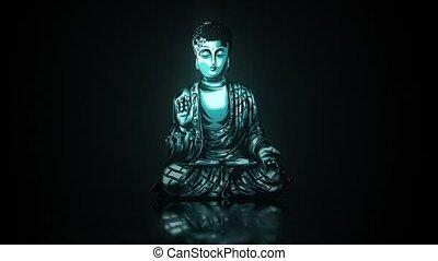 bouddha, lueur, animation, méditation, vidéo