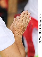 bouddha, monk., gens, vieux, thaï, payer, respect, main, asiatique