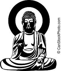 bouddha, noir, dessin