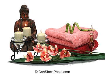 bouddha, orchidée