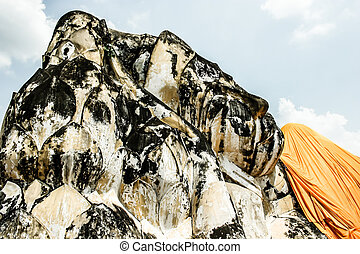 bouddha, reposer, ayutthaya, lokayasutharam, thaïlande, wat