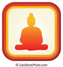 bouddha, silhouette, ilustration.