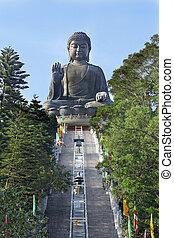 bouddha, statue, bronzage, tian, géant