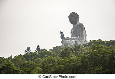 bouddha, statue, lantau, bronzage, tian, île, kong., hong