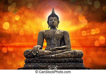 bouddha, statue, sur, scénique, éclairage