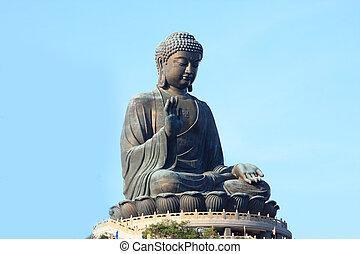 bouddha, statue, tian, porcelaine, tan., kong, hong, géant