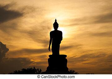 bouddha, sunset.