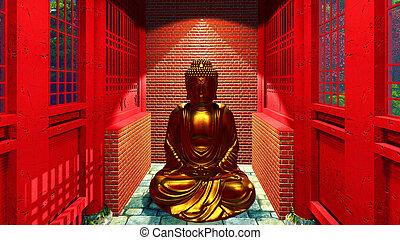 bouddha, temple, statue
