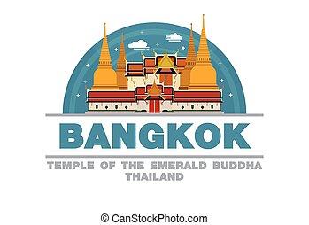 bouddha, temple, symbole, logo, thaïlande, conception, bangkok, plat, émeraude