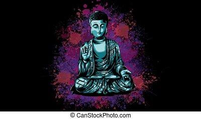 bouddha, vidéo, animation, lueur, méditation