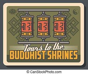 bouddhiste, yin, lotus, bouddhisme, yang, roues prière