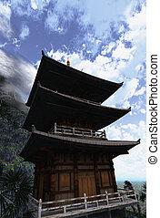 bouddhiste, zen, temple
