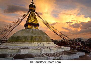 Boudhanath (Boudnath) Stupa in the Kathmandu, Nepal - ...
