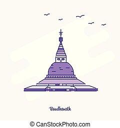 BOUDHANATH Landmark Purple Dotted Line skyline vector illustration