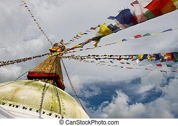 Boudhanath stupa from different ang - Boudhanath stupa and...