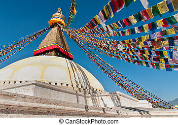 Boudhanath Stupa on a sunny day, in the Kathmandu valley, Nepal
