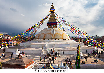 Boudhanath stupa, Kathmandu - Unidentified pilgrims at the...