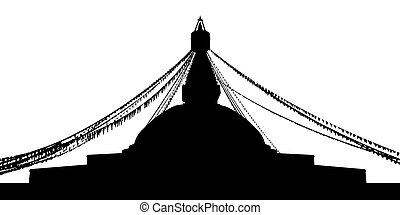 Boudhanath Stupa silhouette - black silhouette of a...