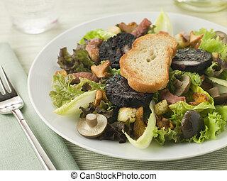 boudin, noir, ensalada, -, tocino, hongos, maison