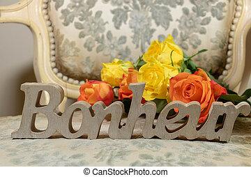 boudoir, féminin, écrit, french), (bonheur, bonheur